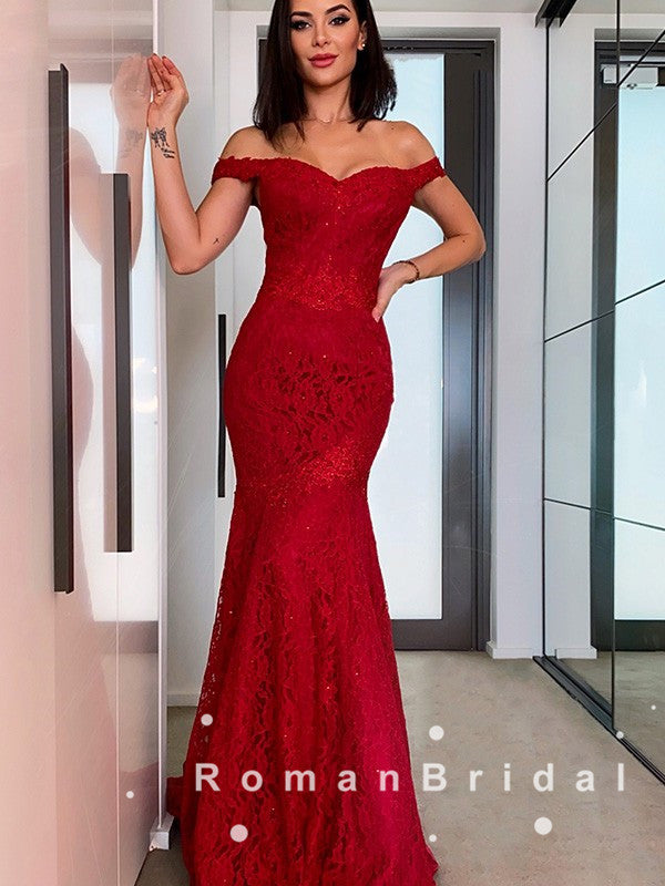 Charming Mermaid Off The Shoulder Red Lace Long Prom Dresses Online,RBPD0080