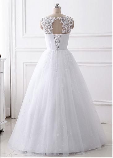 Charming Aline floor length lace top beading wedding dresses with Lace up back, WD0339