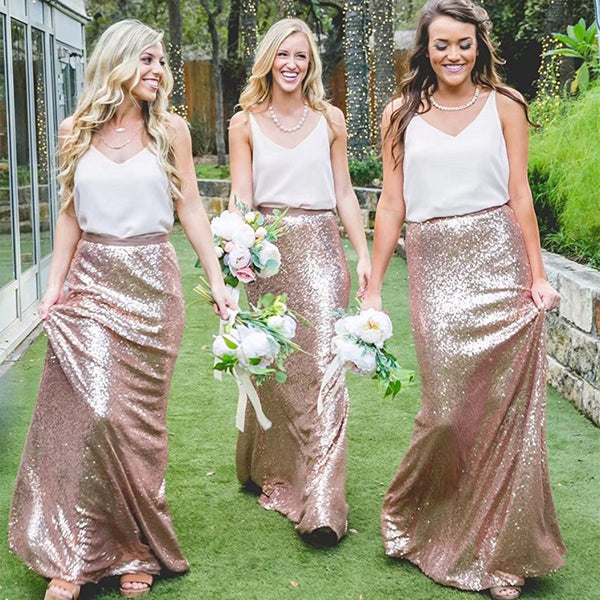 2018 Two pieces Cheap Country Rose Gold Sequins  V-Neck Sleeveless long bridesmaid dresses , BD0423