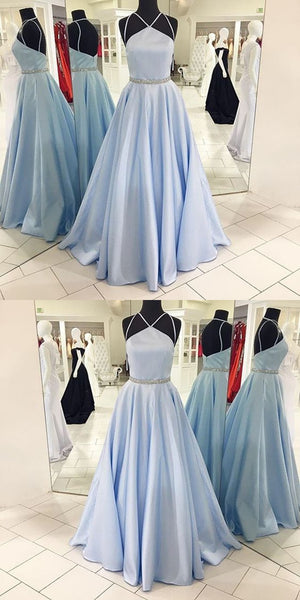 New Arrival A-line Spaghetti Straps Backless Light Blue Prom Dresses, PD0567