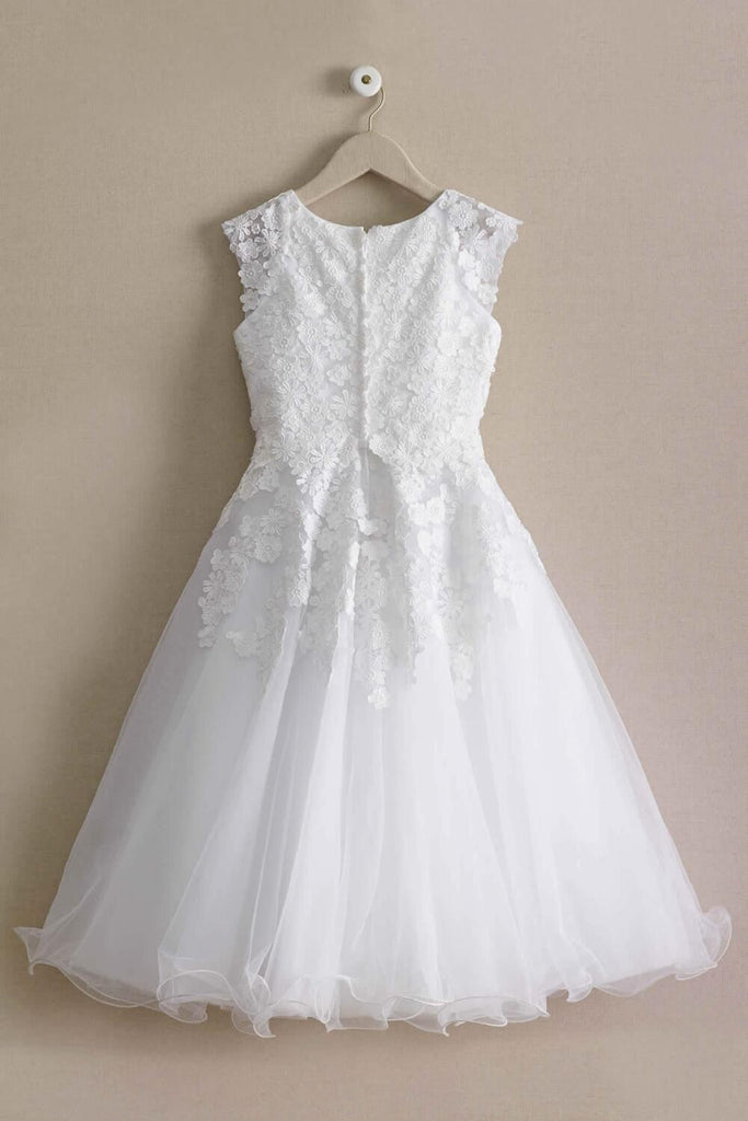 White round neck sleeveless appliques tulle princess dresses, wedding flower girl dresses, FG0124