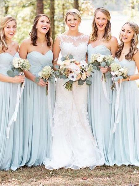Light Blue Sweet Heart Chiffon Long Bridesmaid Dresses, BD0553