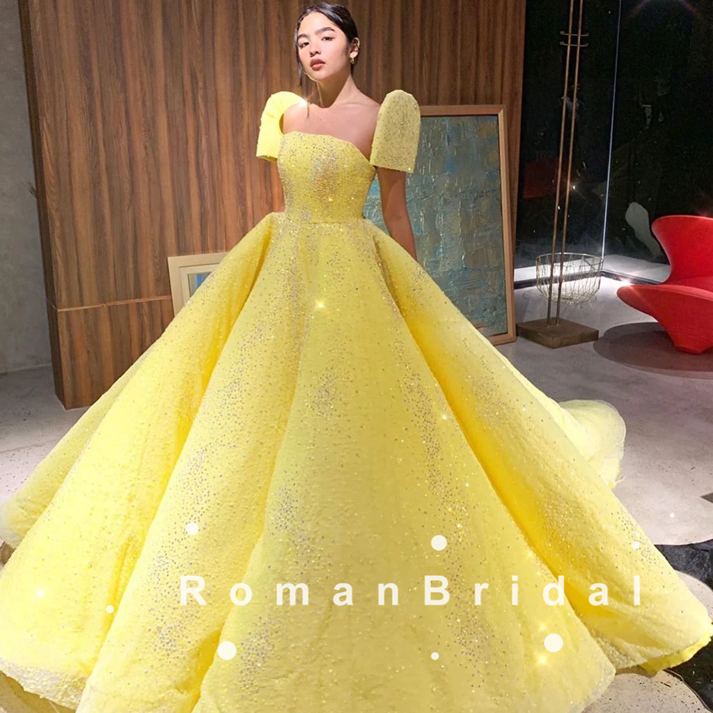 A-Line Strapless Short Sleeves Yellow Long Prom Dresses Online,RBPD0086