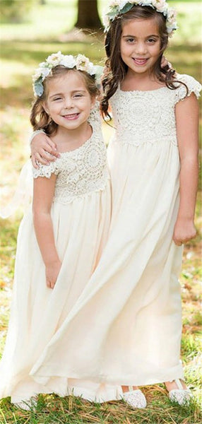 A-line Lace Top Cap Sleeves Chiffon Flower Girl Dresses, FG0148