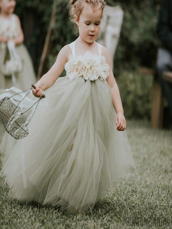Strap Dusty Green Pixie Tutu Dresses, Cheap Popular Flower Girl Dresses, FG020