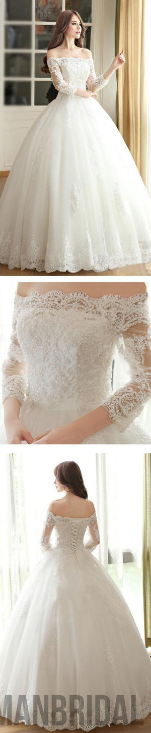 2018 Vantage Off Shoulder Long Sleeve White Lace Wedding Dresses, Lace Up  Bridal Gown,