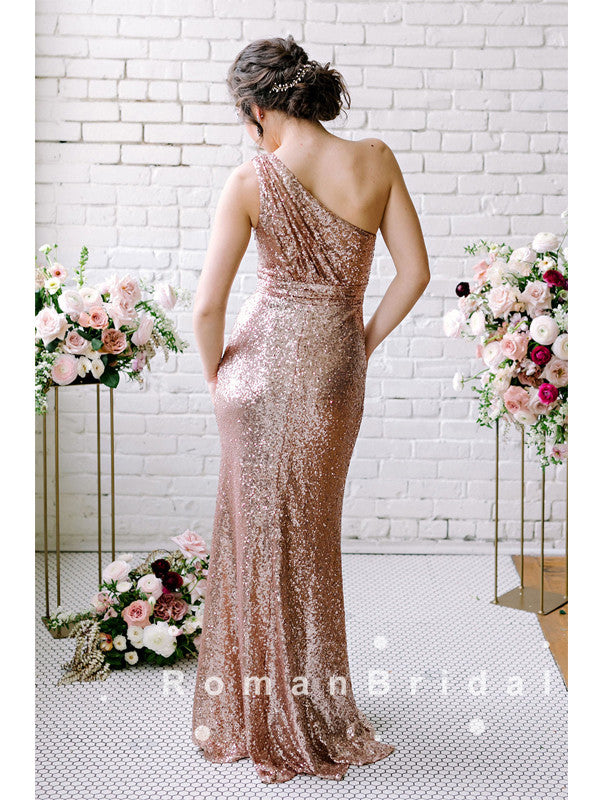 Sheath One Shoulder Pleats Sequined Cheap Bridesmaid Dresses Online,RBWG0009