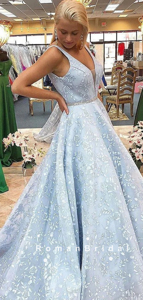 A-Line V-Neck Sleeveless Light Blue Long Prom Dresses With Lace,RBPD0090