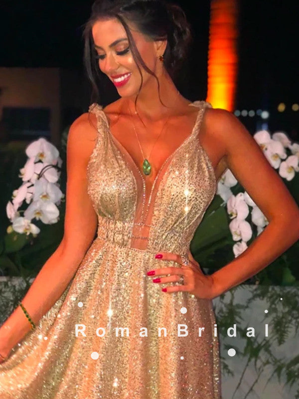 A-Line V-Neck Straps Long Prom Dresses With Gold Sequins,RBPD0092
