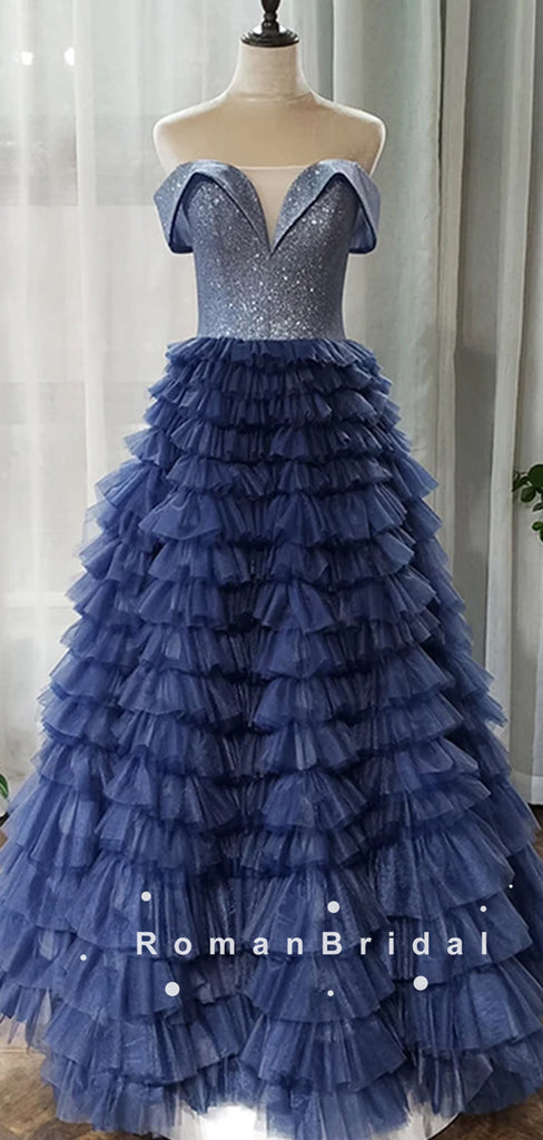 Shinny A-Line Off The Shoulder Tulle Floor Length Prom Dresses,RBPD0093