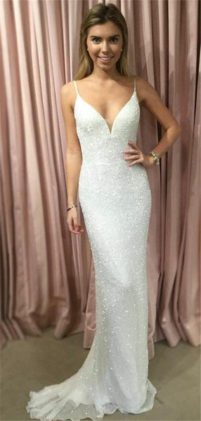 Sheath Spaghetti Straps V-neck Shining Cheap Prom Dress, PD0716
