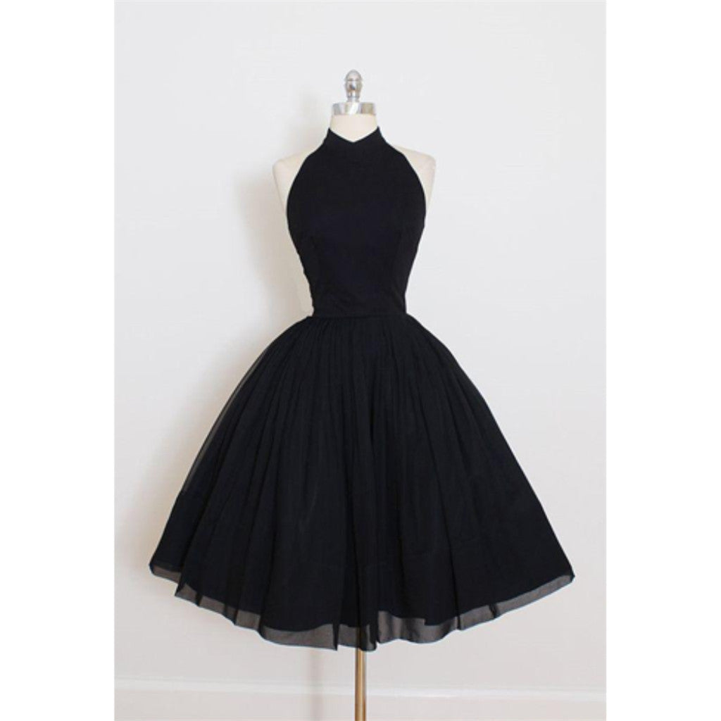 Newest Halter Black Backless Sleeveless Short Prom Dresses, Tutu Homecoming Dresses, HD0371