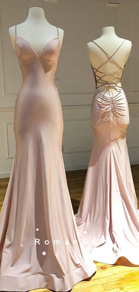 Simple Mermaid V-Neck Spaghetti Straps Cross Back Cheap Long Prom Dresses,RBPD0095