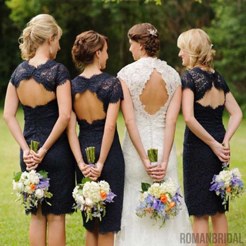 Charming  Lace Navy Blue Open Back Knee-Length Short Mini  Cheap Bridesmaid Dresses, WG095
