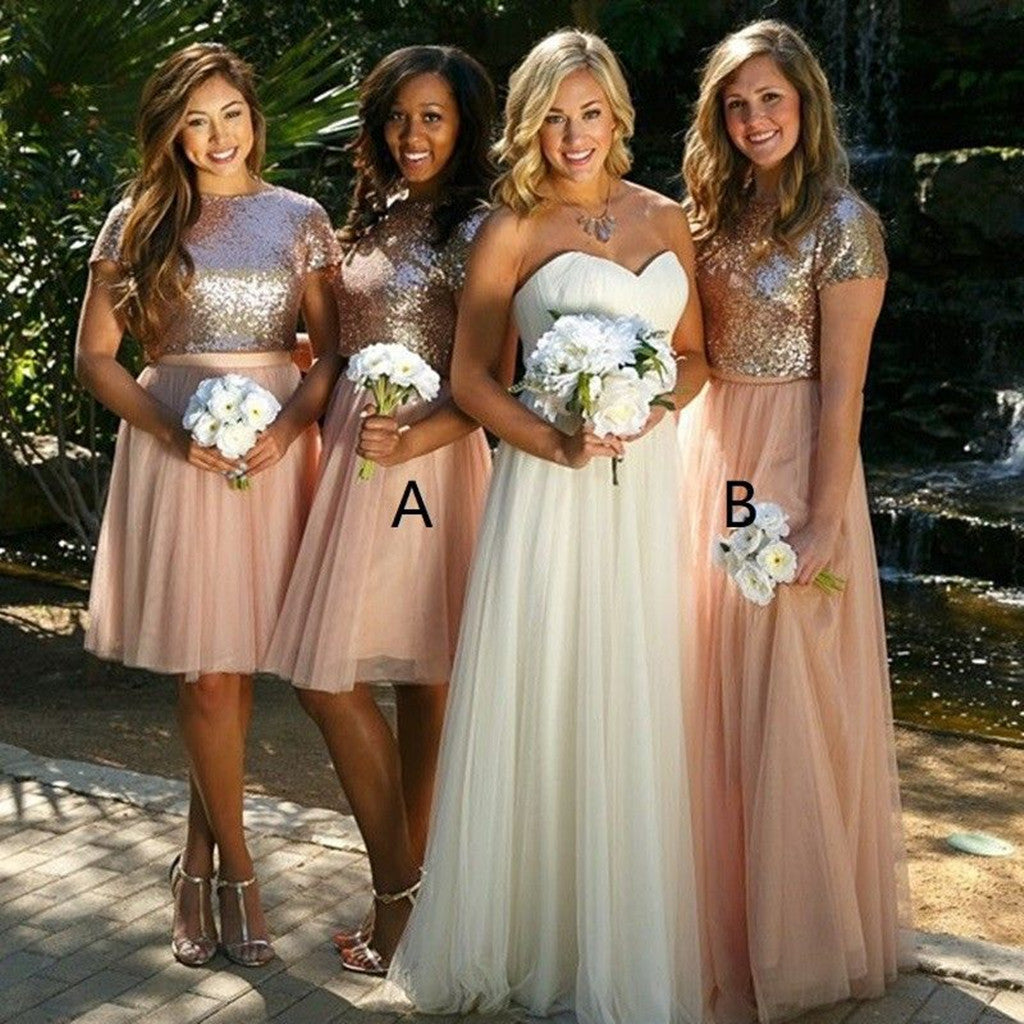 A-line Sequins Top Tulle Skirt Short Sleeves Bridesmaid Dresses, BD0524