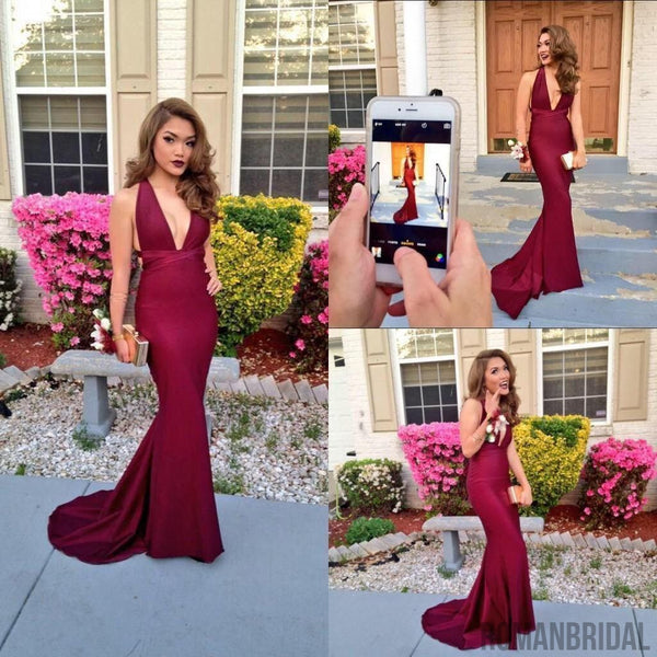 2018 New Simple Mermaid Prom Dresses V-Neckline Backless Prom Dress Dark Burgundy Evening Formal Gowns, Prom Dress, PD414