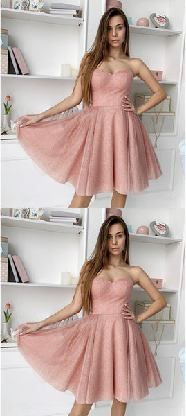 New Arrival Sweetheart Strapless Short Tulle Homecoming Dresses, HD0542