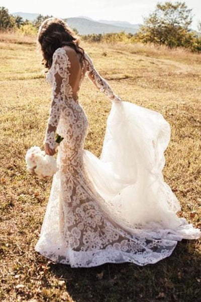 White Romantic Wedding Dresses, Long Appliques Backless Wedding Dresses Lace , WD0324