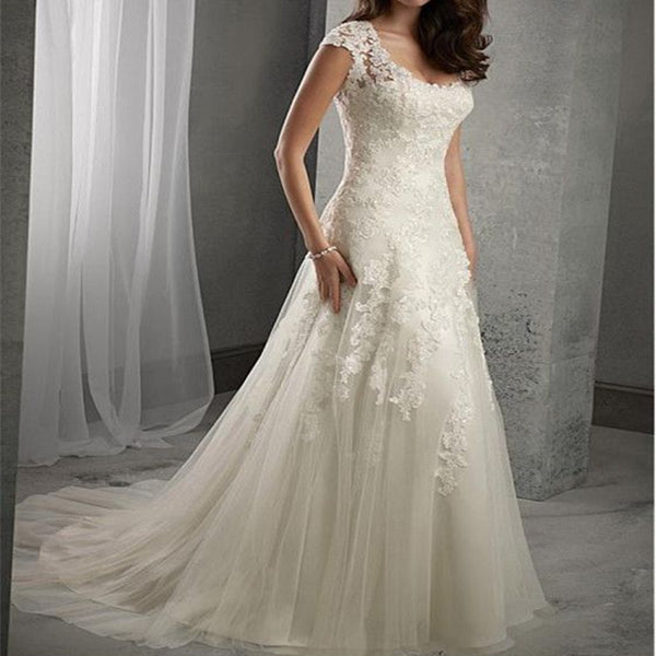 Charming A-line Tulle Scoop Neckline Beaded Lace Appliques wedding dresses, WD0386