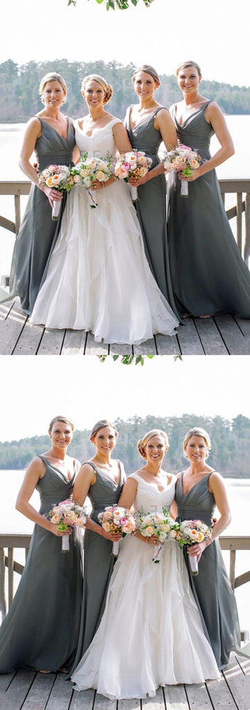 Long Grey V-neck Chiffon Wedding Party Dress, Cheap Simple Bridesmaid Dresses, BD0496