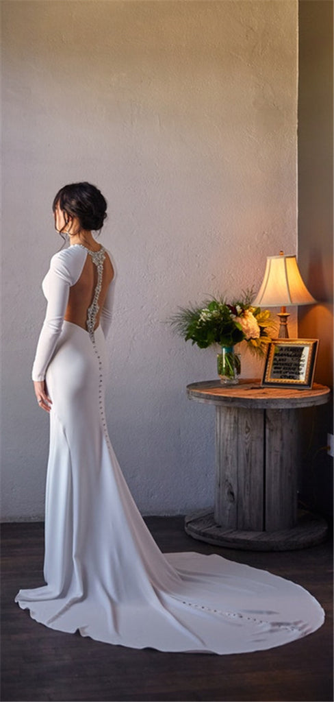 Mermaid Simple White Long Sleeves Backless Wedding Dresses, WD0446