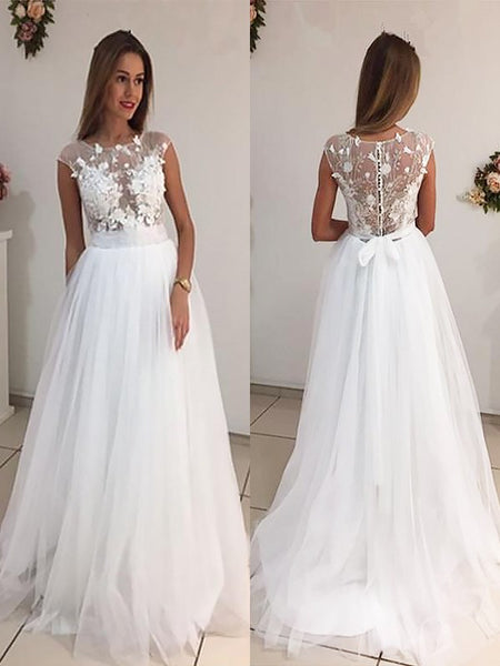 A-line Bateau Neck Cap Sleeves Appliques Tulle Wedding Dresses With Train, WD0412