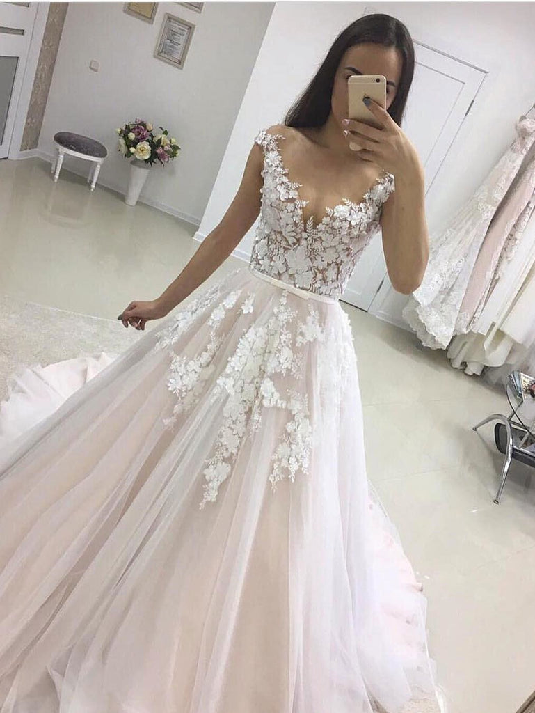 A-line Off-shoulder V-neck Lace Appliques Wedding Dresses With Train, WD0414