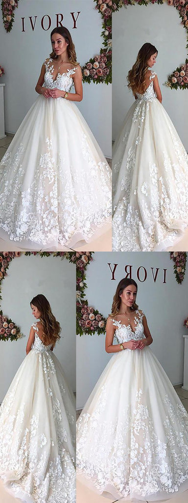 A-line Sleeveless Lace Appliques Backless Wedding Dresses With Train, WD0410