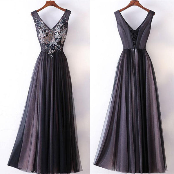 2018 Simple A-line V-neck Dark Grey Simple Cheap Prom Gowns Tulle Evening Dress, Long prom dresses, PD0516