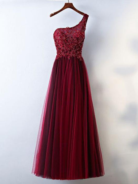 Popular A-line one shoulder tulle modest burgundy Evening dress long Prom dresses, PD0510