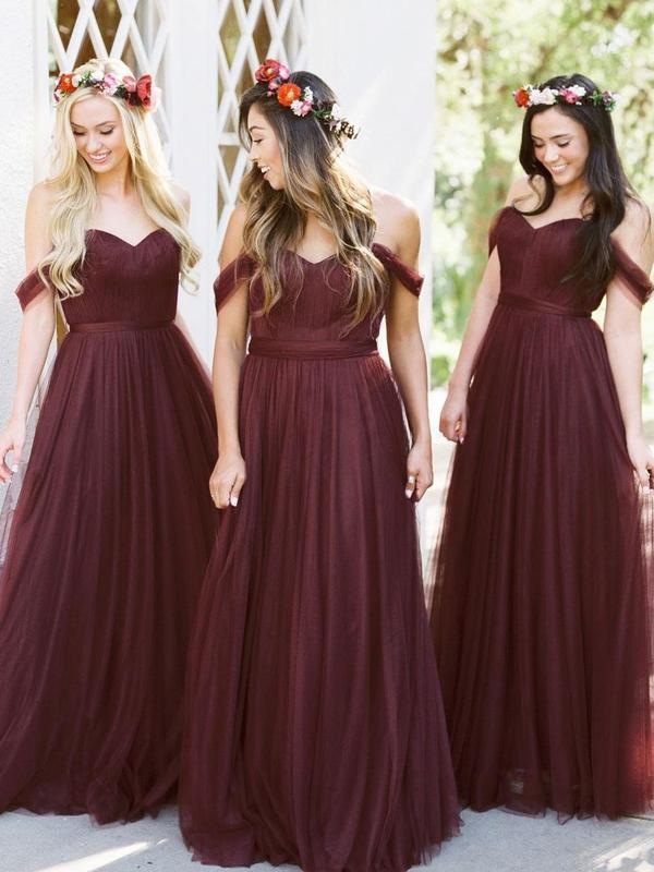 New Arrival Floor-length Burgundy Tulle Off the Shoulder Long Bridesmaid Dresses, BD0431