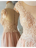 Sparkly A-Line Lace Appliques Beading Cap Sleeves Tulle Homecoming Dresses, HD0418