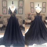 A Line prom dress, long prom Dress, black prom dresses, beaded V-neck prom dresses, formal prom dress, PD0485