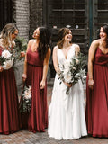 A-line Floor-length V-neck Backless Long Chiffon Bridesmaid Dresses, BD0578