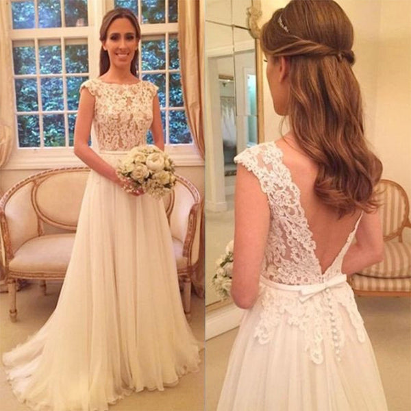 Hot selling Elegant Lace Top A Line Cap Sleeves Tulle Sexy Backless Bridesmaid Dresses, WD0343