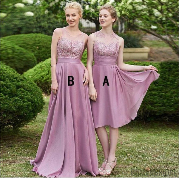 2018 Charming chiffon lace bridesmaid dresses, V-neck Spaghetti Strap sexy bridesmaid dresses, long Strapless bridesmaid dresses, BD0410