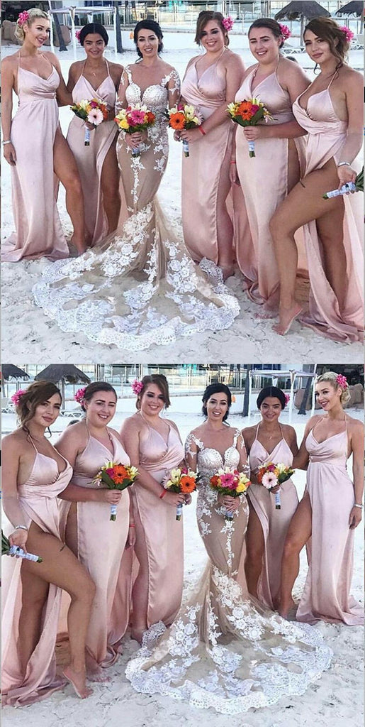 Floor-length Spaghetti Straps V-neck Sexy High Split Bridesmaid Dresses, BD0527