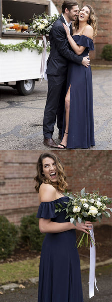 A-line Off-shoulder Navy Blue Chiffon Bridesmaid Dresses With Slit, BD0588
