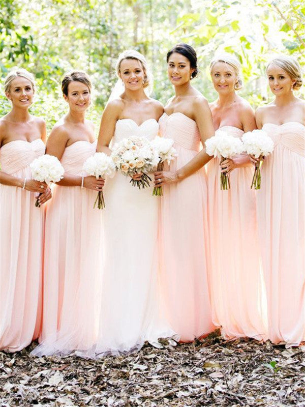 Sweetheart A-line Strapless Chiffon Bridesmaid Dresses With Pleats, BD0583