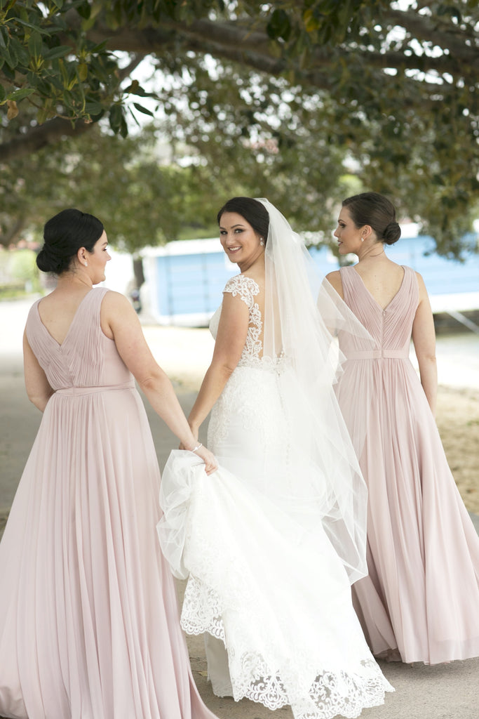 A-line Floor-length Long Chiffon Bridesmaid Dresses With Pleats, BD0552