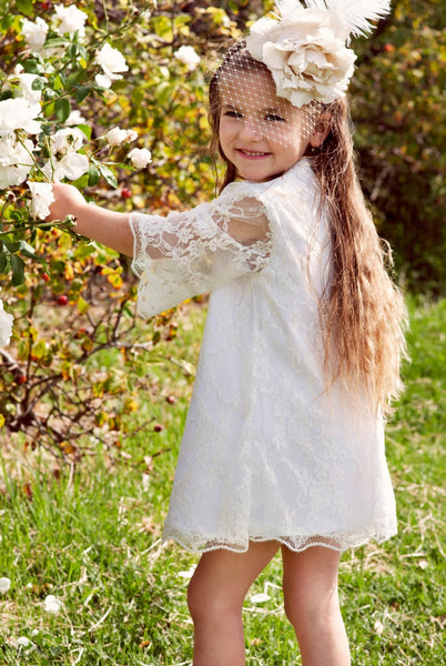 A-line Round Neck 3/4 Sleeves Lace Short Flower Girl Dresses, FG0150