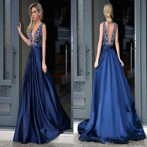 2018 Glamorous A-Line Deep V-Neck Sweep Train Royal Blue Long Beading Prom Dresses, PD0417