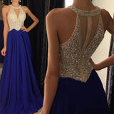 Floor-length Royal Blue A-line Round Neck Chiffon Beaded Long Prom Dress, PD0498