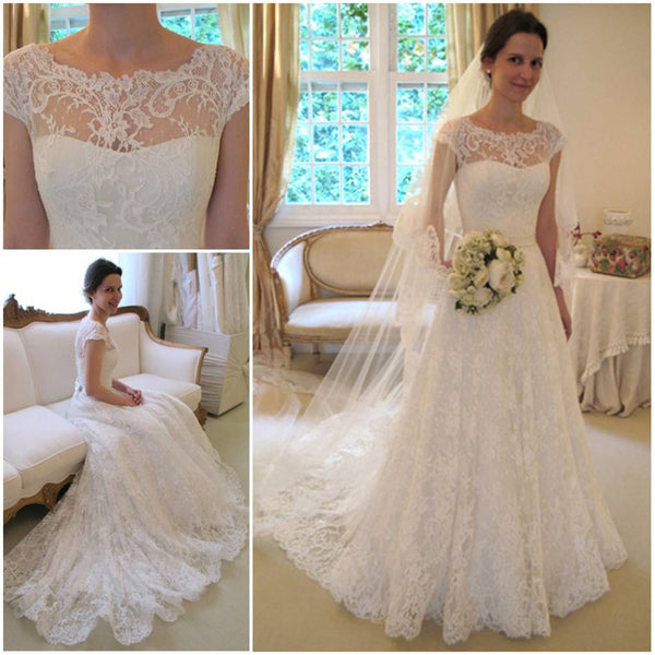 49e3d2c1d2 New Arrival Gorgeous Bateau Neck Cap Sleeve Lace Wedding Dresses with  train