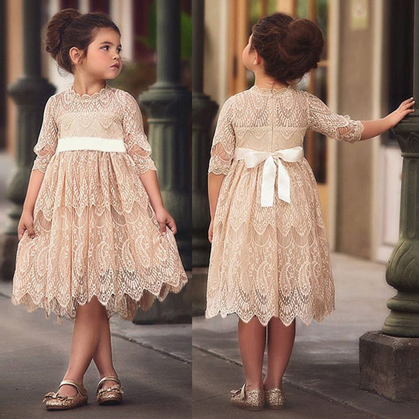 A-line Full Lace Half Sleeves Flower Girl Dresses With Bow, FG0127