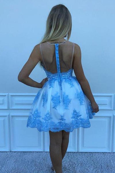 A-line Popular Blue Lace Appliques Short Tulle Homecoming Dresses, HD0352