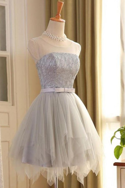 A-line Scoop Neck sleeveless Lace-up Back Short Tulle Homecoming Dresses, HD0360