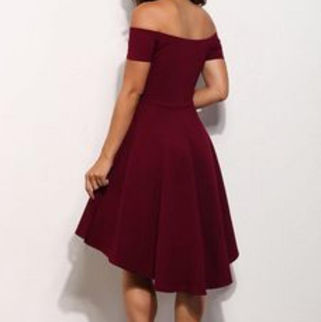 New Arrival Off-the-shoulder Simple Red Elegant Homecoming Dresses, HD0361