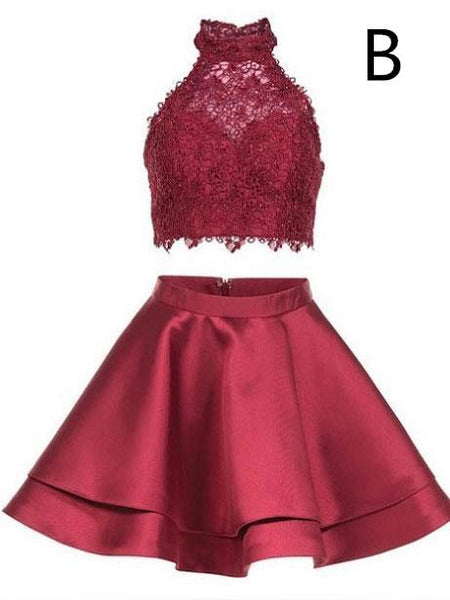 Two Pieces Halter Sleeveless Lace Top Sweet Cheap Short Homecoming Dresses, HD0350