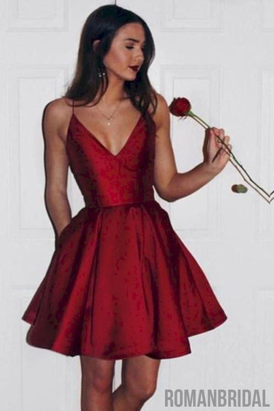 2018 short cute stain  simple V-neck Spaghetti Strap Homecoming dress HD0301